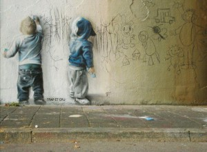 Little kids street art