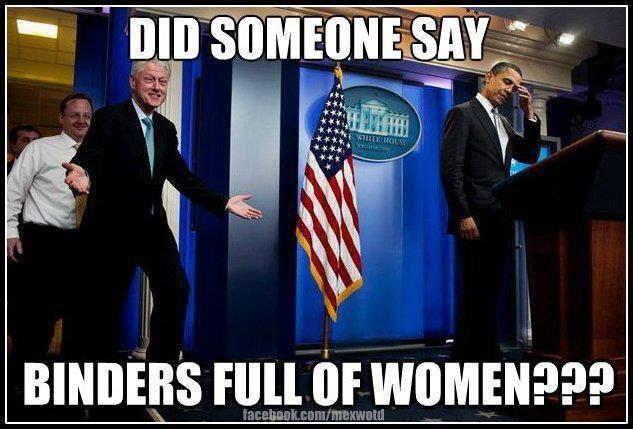 Bill Clinton binders full of women