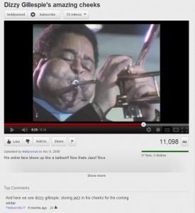 Dizzy Gillespie Stores Jazz in His Cheeks