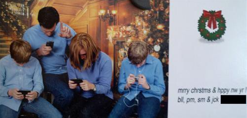 Family Texting in Christmas Card